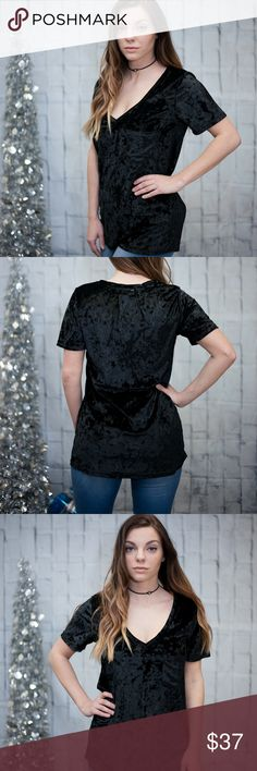 Black Crushed Velvet Top This is one of the most comfy tops ever! Has a great flattering fit. Also available in Mocha. 100% Polyester. No trades. Kyoot Klothing Tops