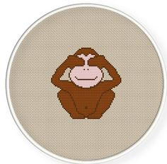 Buy 4 get 1 free ,Buy 6 get 2 free,Counted Cross stitch pattern,Cross-Stitch PDF,three monkeys , Not looking , zxxc0191. $4.00, via Etsy.