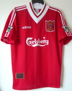 Liverpool football shirt 1995 - 1996 sponsored by Carlsberg Vintage Jerseys, Vintage Football, Vintage Shirts, Soccer Kits, Football Kits, Football Uniforms, Football Jerseys, Liverpool Fc Shirt, Classic Football Shirts