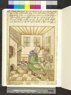 1558, buckle maker, pliers, trestle table  Die Hausbücher der Nürnberger Zwölfbrüderstiftungen