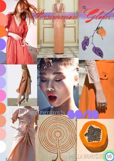 "Inspiration Information - © Mirella Bruno Print Trend Colour Designs 2016. Directions for SS/18 future personal projects. ""Persimmon Glow"". Created Jan. 2016 http://cargocollective.com/mirella-bruno-print-designs/Inspiration-Information"
