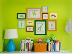 for the modern baby. such a stunning lime green wall!