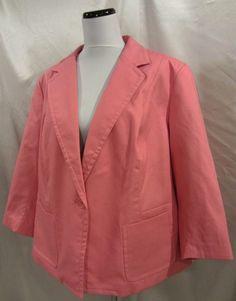 Talbots New sz 22W Plus Blazer Jacket Pink Pique Career Church Wedding Stretch #Talbots #Blazer