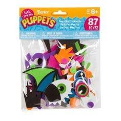 Toys For 4 yr Old Girls: Darice SP300D 86-Pieces Sock Puppet Parts Craft Supplies, Monster Theme Foam Shaped parts for Sock Puppets Includes: Wings, Antennae, teeth, hands, feet and glasses Includes 86 Pieces