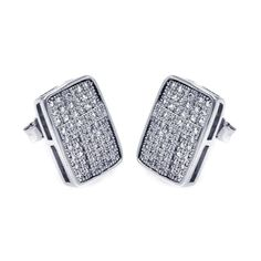 .925 Sterling Silver Rhodium Plated Micro Pave Clear Rectangle Cubic Zirconia Stud Earring