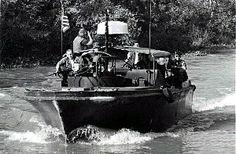 VIETNAM WAR NAVY   Navy Mark I River Patrol Boat (PBR) on a Mekong Delta waterway. Naval ...