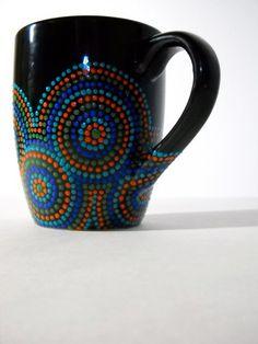 Hand Painted Black Coffee Mug on Etsy, $25.00