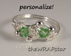 Peridot Ring Wire Wrapped Jewelry Handmade Wire Ring Birthstone Ring Peridot Swarovski Crystal Wire Wrap Ring Silver Wire