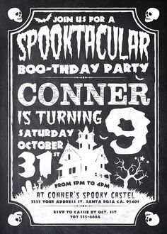 Having a Halloween Birthday Bash? This solid chalkboard style Halloween invitation is sure to make your party a spooktacular event. This invite is for any age, any date as well as any name. Happy Halloween:) Personalized to fit your party, unlimited prints, $8.99