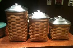 Longaberger 2012 Canister Set w Pottery Inserts