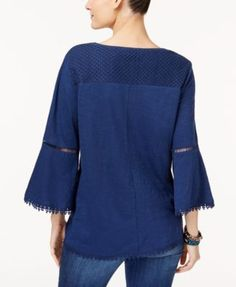 Style & Co Petite Bell-Sleeve Crochet-Trim Top, Only at Macy's - Blue P/XS