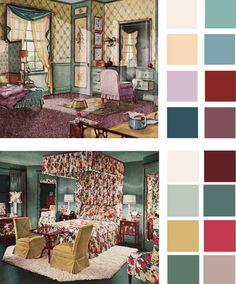 Vintage paint color palettes  http://dornob.com/6-color-palettes-based-on-early-1900s-vintage-bedrooms/