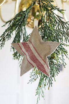 Christmas Red Mangle Cloth Vintage Star by SuttonPlaceDesigns
