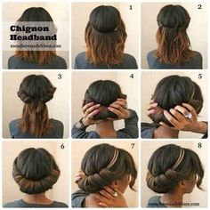 Here's a no-heat hairstyle that will last for two days. Tuck locks under a headband. Let them out the next day for natural waves.