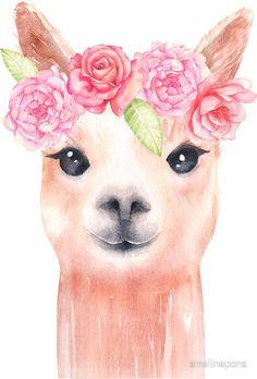 alpaca wallpaper - Lama' Sticker by emelinepons Art Watercolor, Watercolor Animals, Watercolor Illustration, Watercolor Flowers, Alpacas, Alpaca Wallpaper, Tumblr Book, Alpaca Drawing, Llama Pictures