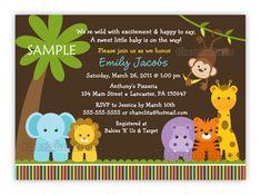 Jungle Safari animales bebé ducha invitación por CherishedTimes
