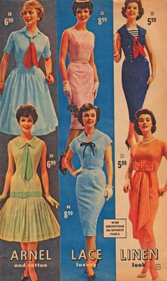 50's fashion -- Would love to go back with my 2013 paycheque and buy at these prices!!