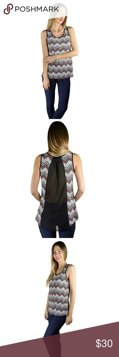 Chevron print tank top Beautiful chevron tank top. White, black and reddish/pink tank top. Sheer black in the back. 95% polyester, 5% spandex. Size small, medium and large. Haia Accessories Tops Tank Tops