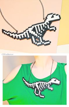 Dinosaur Skeleton, Dino Bones, Halloween Dinosaur, Glow in the dark Dinosaur… Perler Bead Designs, Perler Bead Templates, Hama Beads Design, Diy Perler Beads, Perler Bead Art, Pearler Beads, Fuse Beads, Kandi Patterns, Pearler Bead Patterns