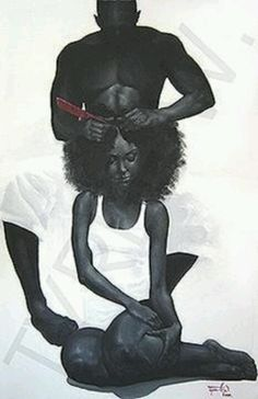 This is by far one of the most romantic artistic expression of black love that I've ever laid eyes on. Dang, I want a wonderful man to grease my scalp! I wanna do this! African American Art, African Art, Black Girl Art, Art Girl, Black Man, Natural Hair Art, Natural Hair Styles, Arte Black, Black Art Pictures