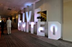 Have 125 large letters with lighting at gala, photos attached? tall self-standing foam letters can be purchased through Sixth Star Foam Letters, Large Letters, Letters With Lights, Arise And Shine, Christmas Stage, Commercial Office Space, Church Stage Design, Gate Design, Event Decor