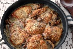Savory mushroom Asiago chicken - To make low carb, use coconut flour or almond flour with parmesan cheese instead of the regular flour.  Must try this!