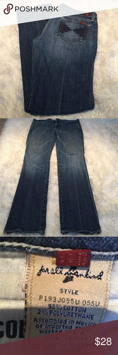 """7 for all Mankind straight boot sz 30 Great pair of jeans by 7 for all Mankind. Straight leg- kind of a slimmer boot look. See pic for material detail. Jeans are """"college"""" style name. Inseam measures 32.5 inches. Been worn but overall condition good with very minor wear to ends. Cute detailing on these jeans- tons of life to give! Bundling is fun; check out my other items! No price talk in comments. No trades or holds. 7 For All Mankind Jeans Boot Cut"""