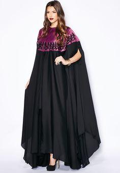 nice Shop Hayas closet multicolor Embroidered Cape Abaya for Women in UAE Abaya Fashion, Modest Fashion, Fashion Dresses, Mode Abaya, Mode Hijab, Kaftan Designs, Vetement Fashion, Muslim Dress, Caftan Dress
