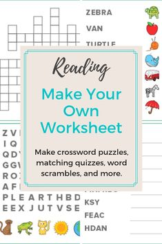 Create and print fully customized crossword puzzles, matching quizzes, word searches, word scrambles, and more with our reading worksheet generator. Spelling Worksheets, Sight Word Worksheets, Reading Worksheets, Kindergarten Worksheets, Reading Activities, Craft Activities For Kids, Kid Crafts, Teaching Child To Read, Teaching Tips