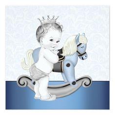 Boys Blue Rocking Horse Baby Shower Card