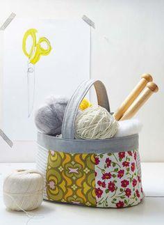 Sew a Knitting Basket - Free Sewing Tutorial + PDF Template