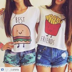 🍟Best Friends Crop Tops Lot of 2 size L🍔 Lot of 2 crop top BFF shirts. Bff Shirts, Best Friend T Shirts, Best Friend Outfits, Best Friend Stuff, Best Friend Clothes, Friends Shirts, Teen Shirts, Best Friend Matching Shirts, Couple Tshirts