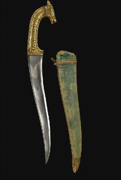 A Koftgari horse head dagger and scabbard, India, 19th century