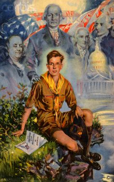 Lithograph of a Boy Scout with America's Founding Fathers by Howard Chandler Christy. Looks very much like what Joubert did in France. Cub Scouts, Girl Scouts, Eagle Scout Ceremony, Norman Rockwell Art, Camping Friends, Scouts Of America, Scout Leader, Vintage Pictures, American Artists