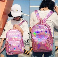 Women Laser Leather Backpack Hologram Holographic School Bookbag Tote  Modern LD in Clothing, Shoes   Accessories, Women s Handbags   Bags,  Backpacks   ... 955a6bffbb