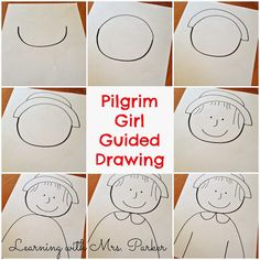 A step by step visual guide of how to draw a Pilgrim boy and girl as well as a Native American boy and girl. Thanksgiving Drawings, Thanksgiving Art Projects, Thanksgiving Preschool, Fall Preschool, Thanksgiving Placemats, Kindergarten Art Projects, In Kindergarten, Art Classroom, Drawing For Kids