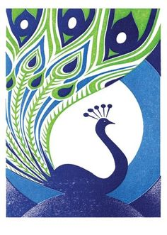 Stunning hand printed card done using a letterpress, from Natural History Museum, London Peacock Wall Art, Peacock Theme, Drawings Pinterest, Peacock Pictures, Bird Drawings, Cool Posters, Peacocks, Fabric Painting, Indian Art