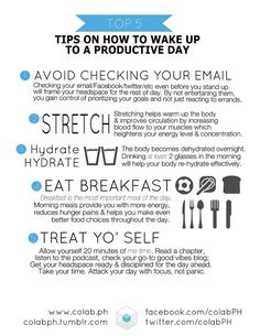 Tips on how to wake up to a productive day