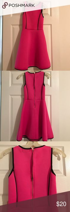 Pink neoprene dress with black trim Flare skirt, hot pink dress. Black trim. Sinches above hip Dresses Mini