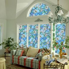 Static-Cling-Cover-Stained-Flower-Window-Film-Glass-Privacy-Home-Decor-45-100cm
