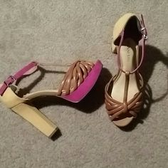 Gianni Bini platform heels Mustard yellow and hot pink in suede, tan t-strap open toe in leather. Great condition very light wear on the back of heels Gianni Bini Shoes Platforms