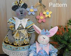 PDF-patrón 10 primitivos Raggedy Bunny conejo por cottonwoodcountry