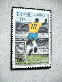 Placa Decorativa 28x19cm  Pelé 1.000 Gols   Img Selo Comemor - R  25 d70723d799d25