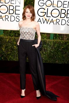 Emma Stone in a Lanvin jumpsuit at the 2015 Golden Globes