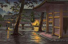 土屋光逸 (風光礼讃) - 高輪泉岳寺 (1933)