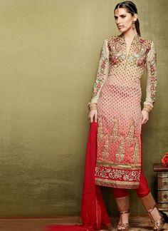 Red Cream Pure Banarasi Jacquard Suit - great churidaar/pant - elegant cut - Silk Museum Surat  silkmuseumsurat.in