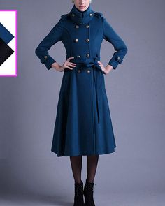 Double Breasted Wool Blend Coat with Hight Collar  by DressStory, $279.99
