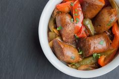 Italian Sausage, Peppers, and Onion | The Domestic Man - Applegate & Trader Joe's make GAPS legal sausages - Stage one if you make it in a crockpot