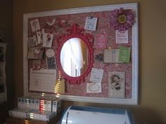 mirror on bulletin board to put near the door for reminders and a final  mirror check on your way out