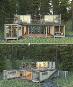 Container Buildings, Container Architecture, Architecture Design, Shipping Container Home Designs, Container House Design, Shipping Container Cabin, Casas Containers, Home Photo, Luxurious Bedrooms